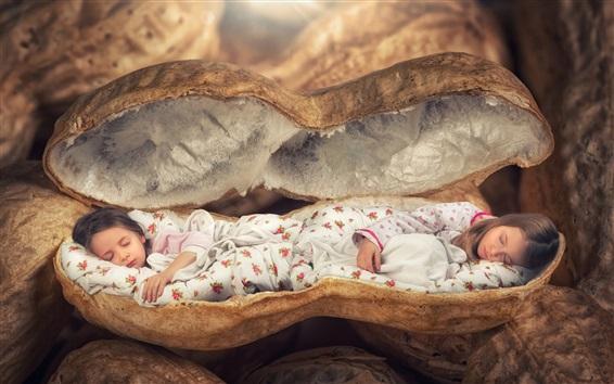 Wallpaper Little girls sleep in a peanuts, creative design