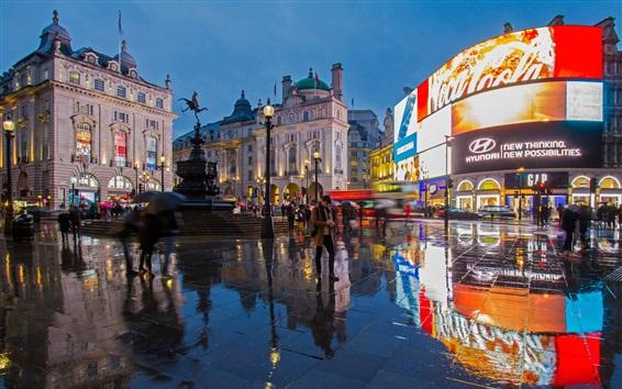 壁紙 ロンドン、イングランド、都市、通り、人、夜、ライト