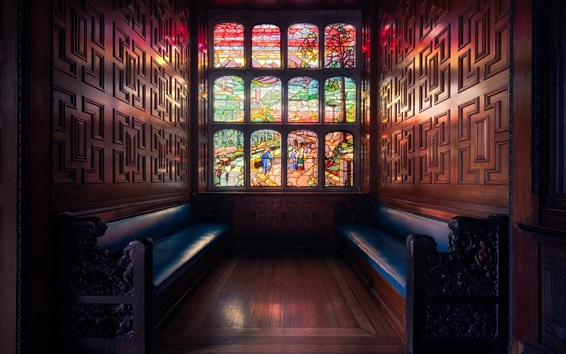 Wallpaper London, England, window, stained glass, bench