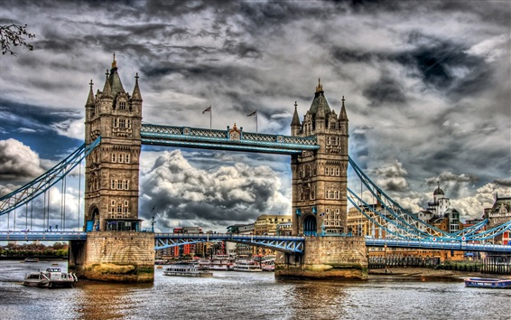 Wallpaper London, Tower Bridge, cloudy sky, river, city