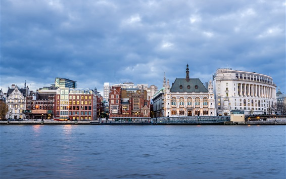Fond d'écran Londres, Royaume-Uni, rivière, maisons, nuages, crépuscule