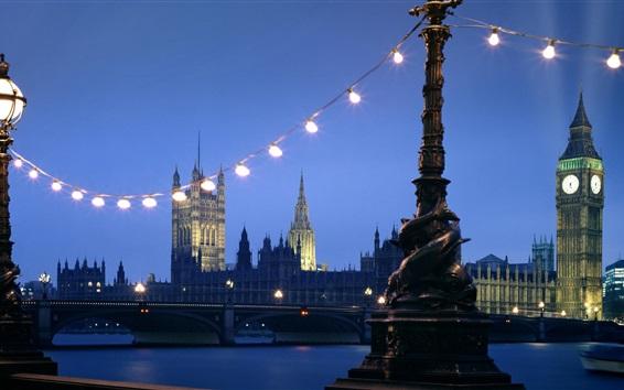 Papéis de Parede Londres, ponte, rio, noite, luzes, Reino Unido