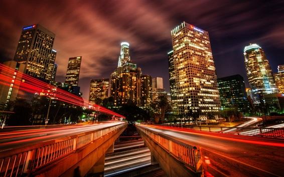Обои Лос-Анджелес, трафик, дороги, светлые линии, небоскребы, освещение, ночь, США