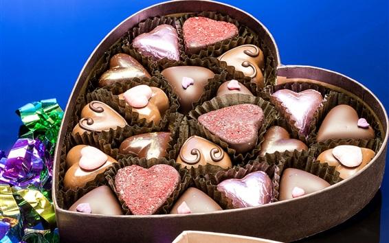 Wallpaper Love hearts, candy, chocolate, box