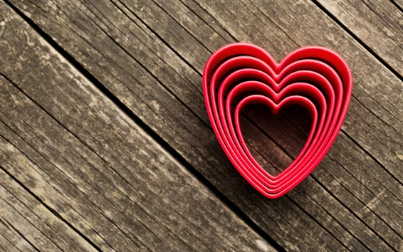 Fond d'écran Coeurs d'amour, fond de bois
