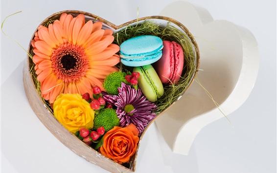 Wallpaper Macaroon, flowers, box, gift, love heart shaped