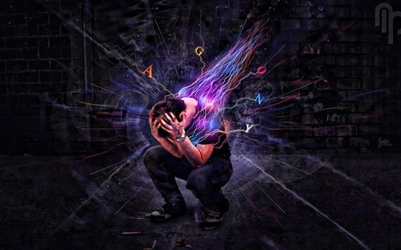 배경 화면 인간 감정 폭발, 독창적 인 디자인