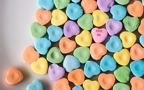 Wallpaper Many love heart candy, rainbow colors