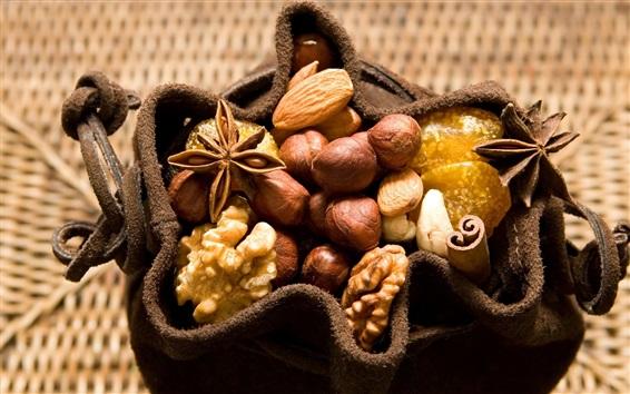 Wallpaper Many nuts, cinnamon, walnut, sack