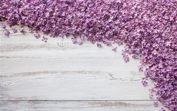 Papéis de Parede Muitas flores de lilás roxas na placa de madeira