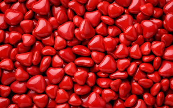 Wallpaper Many red love heart shaped candy