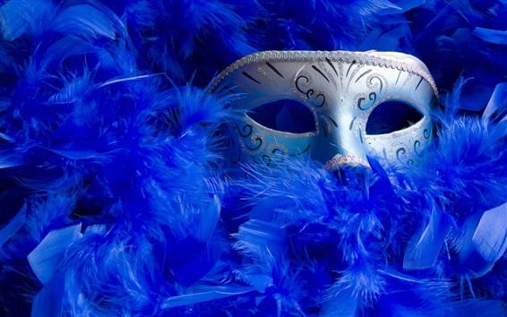 Papéis de Parede Máscara, penas azuis