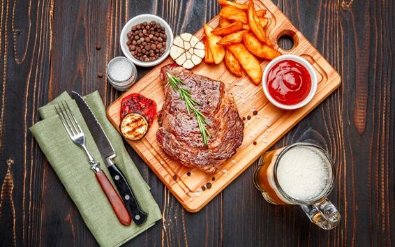 Wallpaper Meat, potatoes, sauce, knife, beer, food