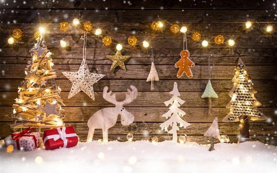 Wallpaper Merry Christmas, decoration, tree, deer, lights, gifts