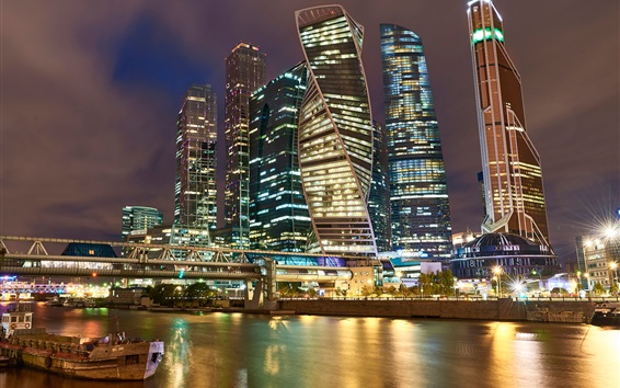 Wallpaper Moscow beautiful city night, Russia, skyscrapers, river, lights