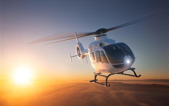 Wallpaper Multi-purpose light transport helicopter flight, dawn, sunrise