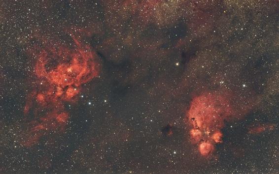 Fond d'écran Nébuleuse, espace, étoiles, style rouge