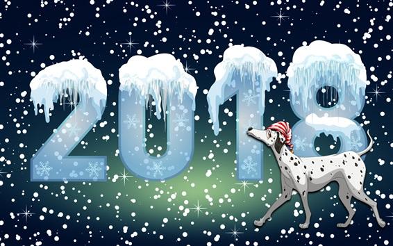 Обои Новый год 2018 года, собака, зима, снег