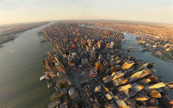 Wallpaper New York, skyscrapers, river, buildings, top view, USA