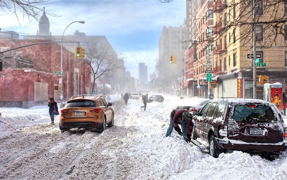 Wallpaper New York, winter, thick snow, road, city, cars, buildings, cold, USA