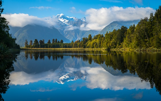 Wallpaper New Zealand, lake, water reflection, mountains, trees, clouds