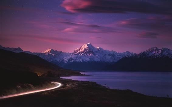 Fond d'écran Nouvelle-Zélande, route, lumière, montagnes, mer, nuit