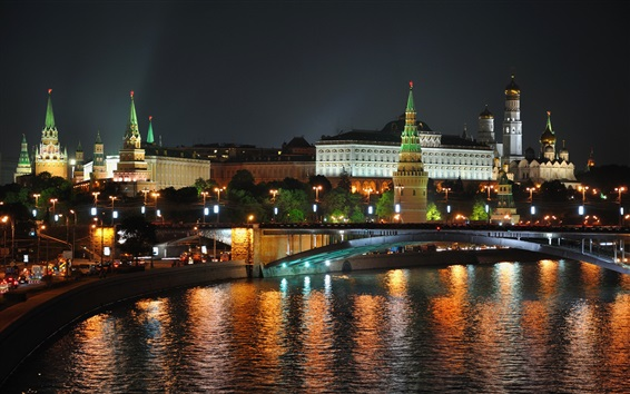 Wallpaper Night, Moscow, city, river, bridge, lights, Russia