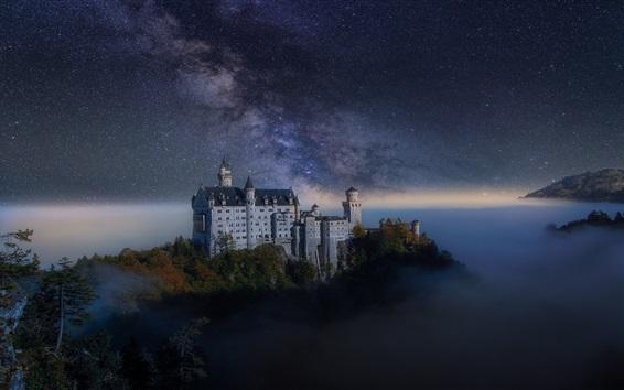 Wallpaper Night, castle, starry, mist, Germany