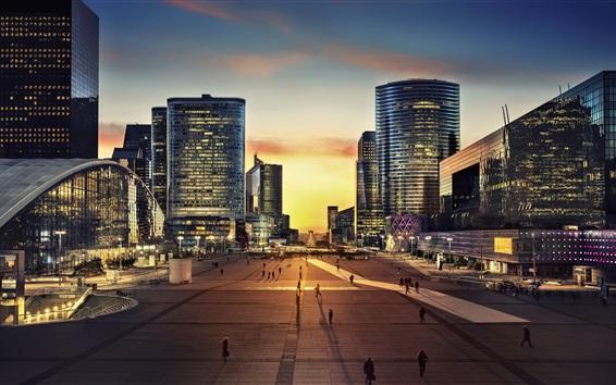 Fond d'écran Vue urbaine de nuit, Paris, gens, rue, gratte-ciels, lumières