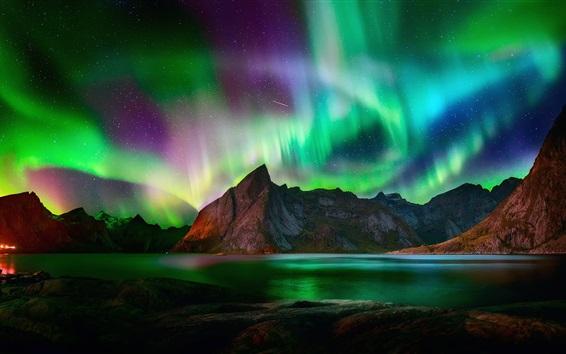 Wallpaper Northern lights, beautiful night, mountains, lake, starry