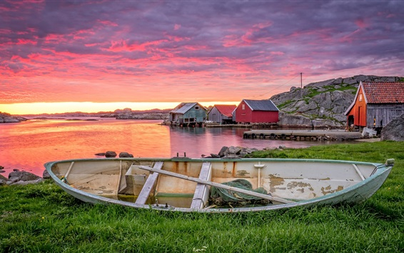 Wallpaper Norway, Rogaland, boat, red clouds, houses, sunset