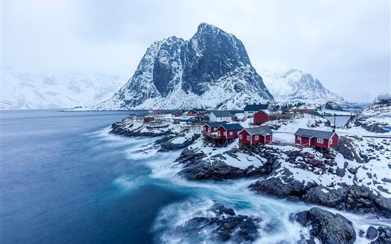 Papéis de Parede Noruega, montanhas, rochas, vila, neve, inverno, mar