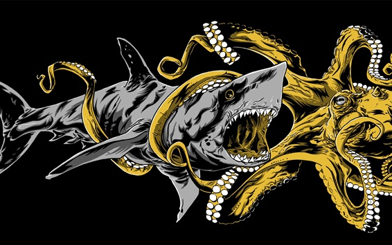 Papéis de Parede Batalha por polvo e tubarão, desenho artístico