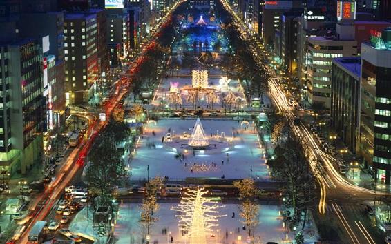 Papéis de Parede Odori Park, ilha de Hokkaido, Sapporo, Japão, noite, luzes