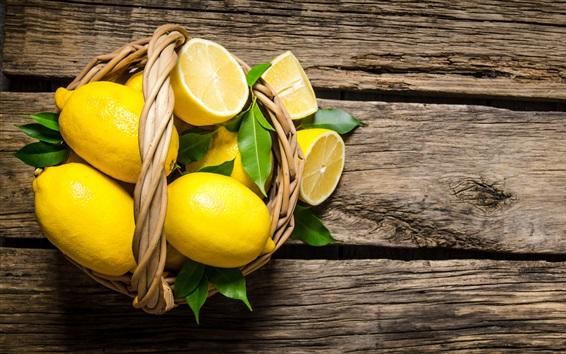 Wallpaper One basket lemons
