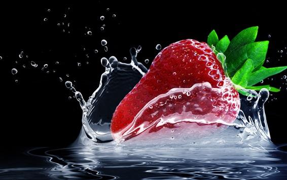 Обои Одна красная земляника, всплеск воды