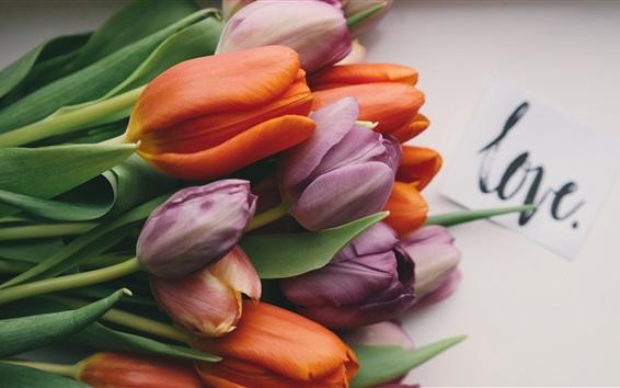 Wallpaper Orange and purple tulips, bouquet