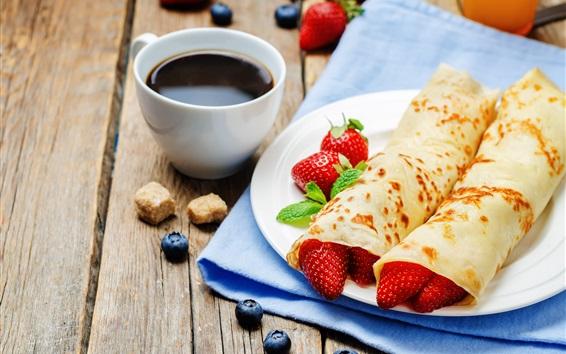 배경 화면 팬케이크 롤, 딸기, 블루 베리, 커피