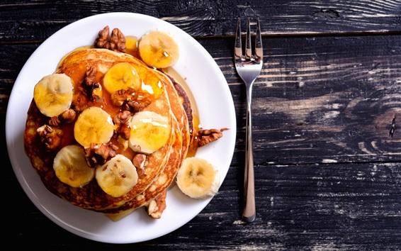 Обои Блинчики, бананы, орехи, мед, вкусная еда