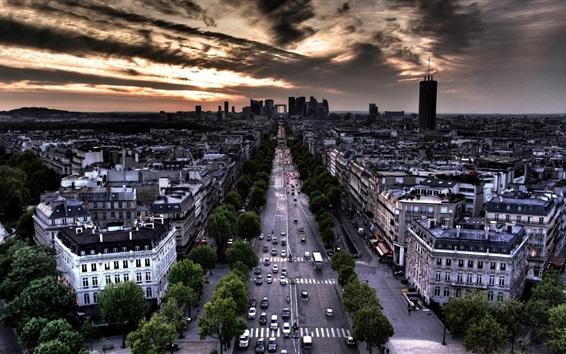 Papéis de Parede Paris, França, rua, casa, nuvens, crepúsculo