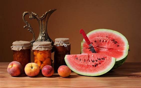 Wallpaper Peaches, watermelon, jam