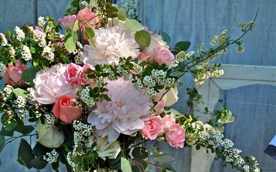 배경 화면 모란과 장미, 꽃다발 꽃