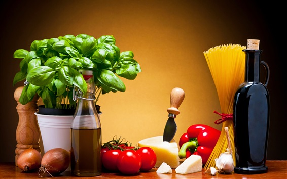 Wallpaper Pepper, pasta, cheese, tomatoes, onion, wine, vegetables