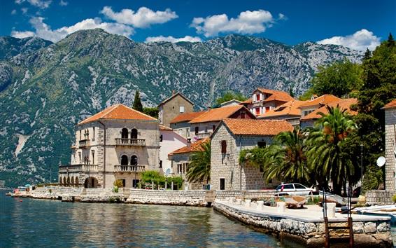 Fondos de pantalla Perast, Montenegro, casas, río, montañas, palmeras