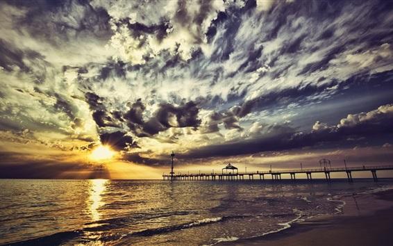 壁紙 桟橋、雲、日没、海、夕方