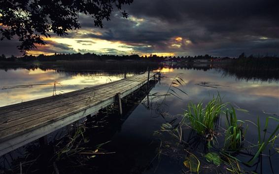 Wallpaper Pier, lake, bridge, grass, black clouds, dusk