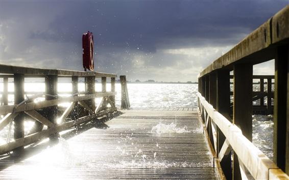 Wallpaper Pier, wood bridge, waves, water splash, glare, sunshine