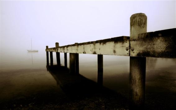 Wallpaper Pier, wood, lake, boats, fog, morning