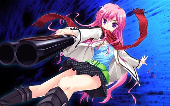 배경 화면 핑크 머리 애니메이션 소녀, 총, 스카프