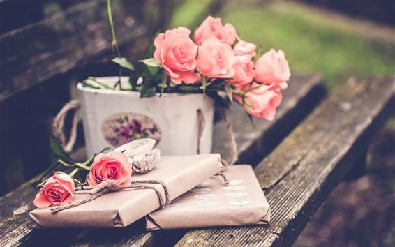 Wallpaper Pink rose flowers, gift